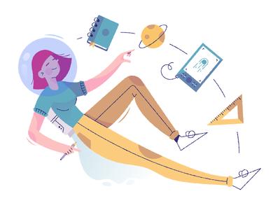 Graphic design space booster ruler sketchbook tablet floating girl flat character illustration