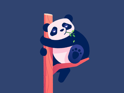 P is for Panda panda vector flat plant tree character illustration