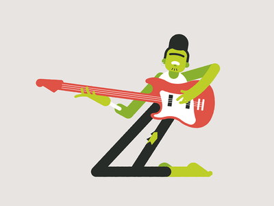 Z for Zombie flat music crazy guitar rock zombie character illustration