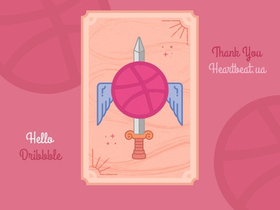 Hello Dribbble! thank you first shot tarot card invite dribbble debut sword illustration