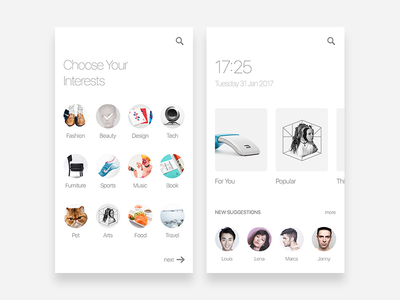 Choose Your Interests clean white concept ui mobile app interface