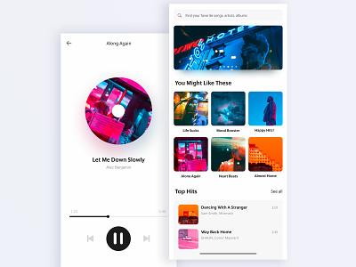 I don't talk but I listen player music app ui interface