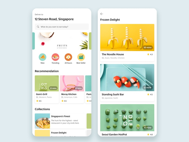 Foodies' Favorite mobile foodapp fooddelivery food design concept ui interface