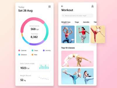 Mobile Fitness App fit exercise gym app workout app fitness app app concept mobile interface