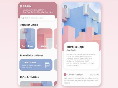 Hola Spain! traveler travel app visual design concept app ui interface