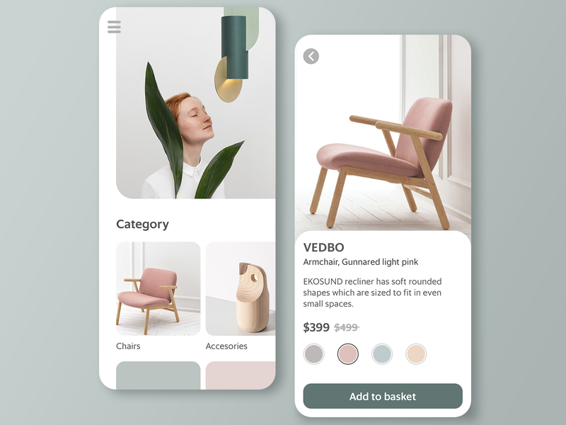 It's called HOME nordic morandi furniture store shopping ecommerce app furniture interface design concept ui