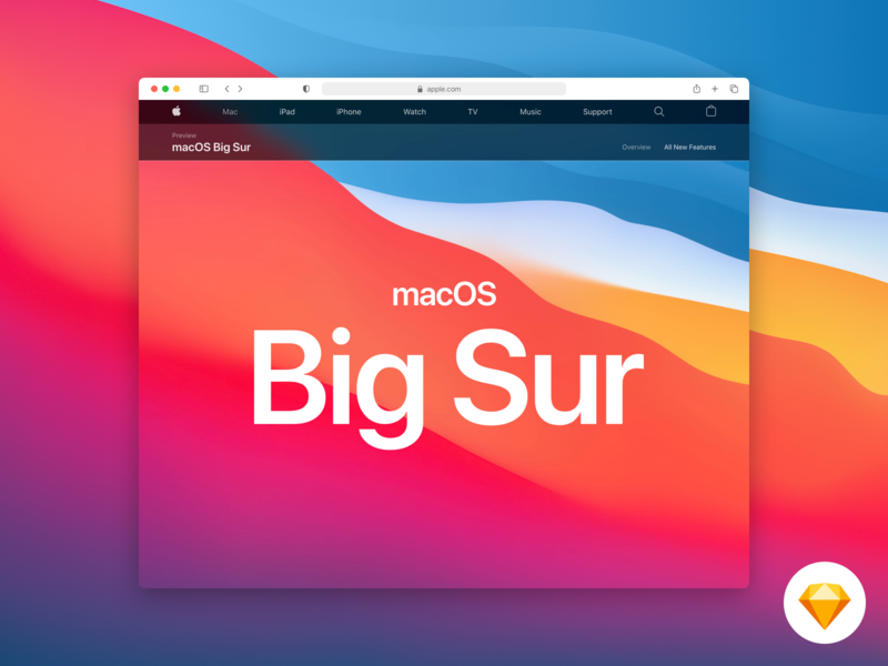 Safari Big Sur - Mockup design webdesign website web big sur apple app desktop chrome resource sketch uikit browser safari mockup macos
