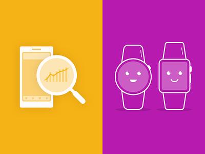 Blog Illustrations analytics mobile watch apple smartwatch flat outline illustrations