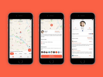 Discover new friends nearby interest map location event apple iphone ios app design interface ux ui