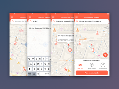 Delivery App app location maps mobile interface design ui ux iphone delivery ios