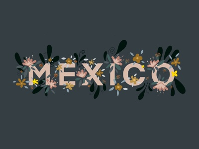 Mexico Flower Lettering mexico city mexico floral flower illustration flower logo flower procreate lettering illustration