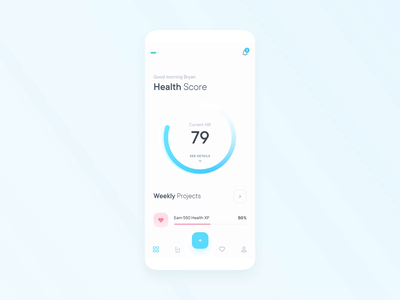 Gamified Health App Interactive Prototype interaction protopie health app health minimal clean app gamified gamification ios ui