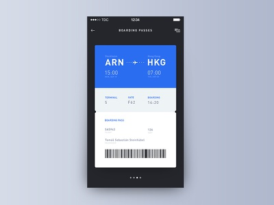 Day 008 - Boarding Pass boarding pass travel ticket plane passenger pass flight code boarding ui ios airlines