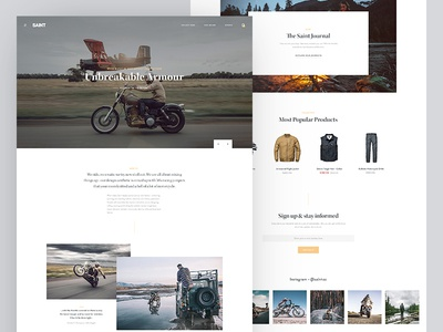 Saint Landing Page Redesign page minimal motorcycle interface website clean landing page typography ui web e-commerce ecommerce