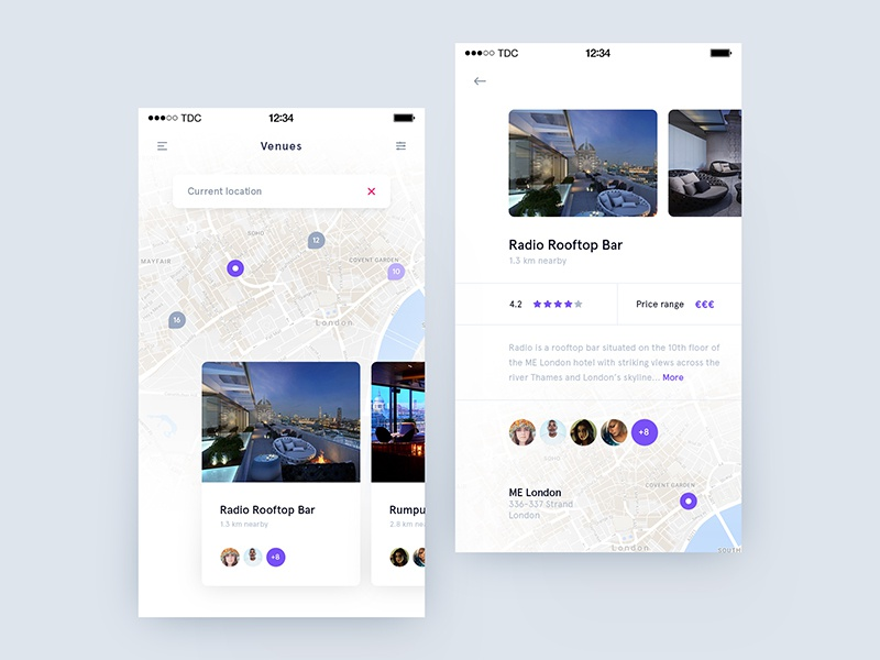Day 011 - Nearby Venues card travel ui venue map social party event bar ios app