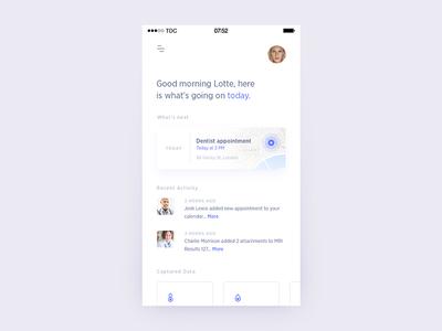 Medical Assistant App - Dashboard assistant ui dashboard schedule health medical bar ios app