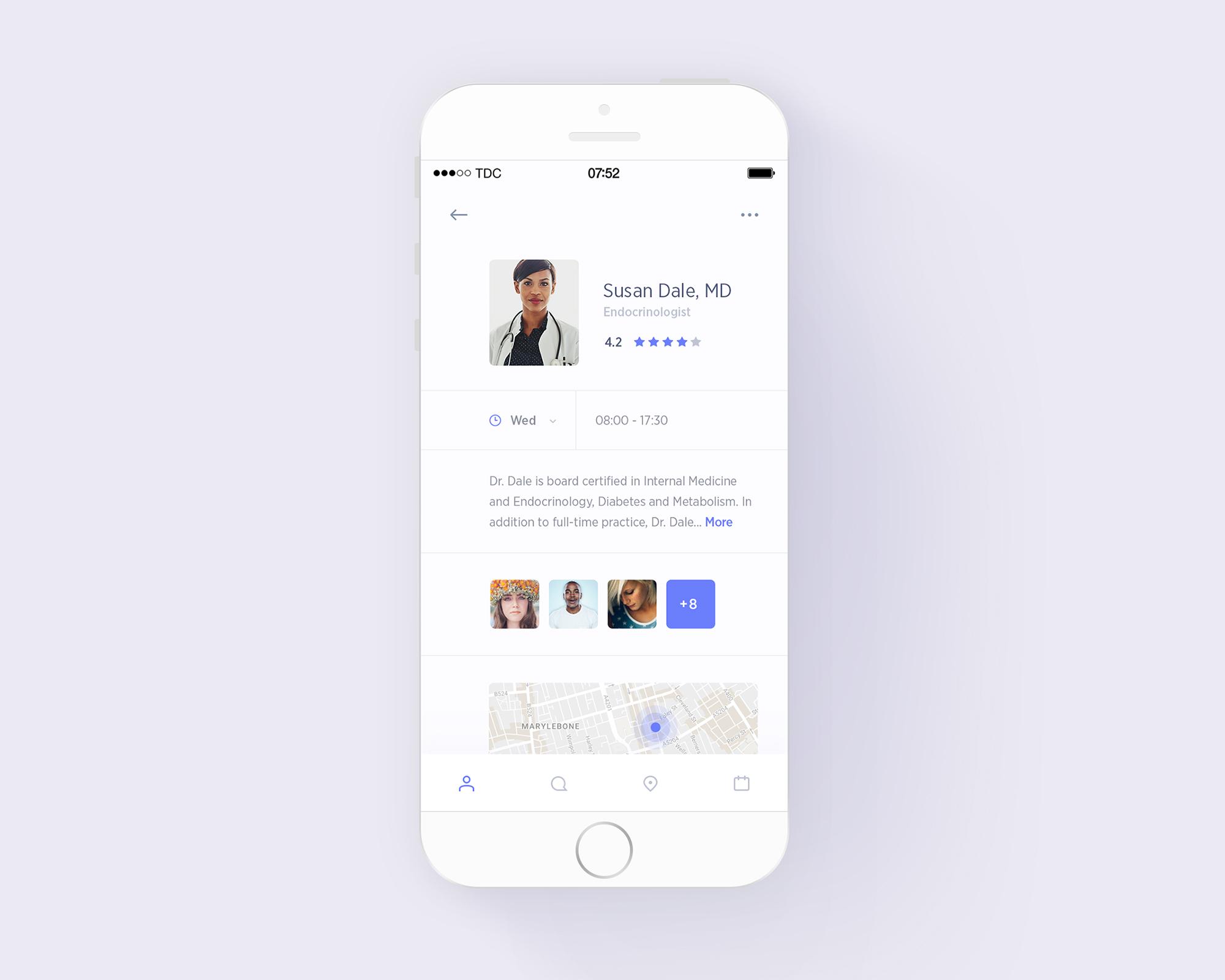 Medical assistant exploration profile mockup