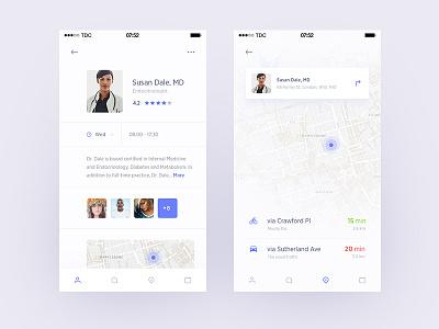 Medical Assistant App Exploration comments review assistant doctor navigation map profile ui health medical ios app