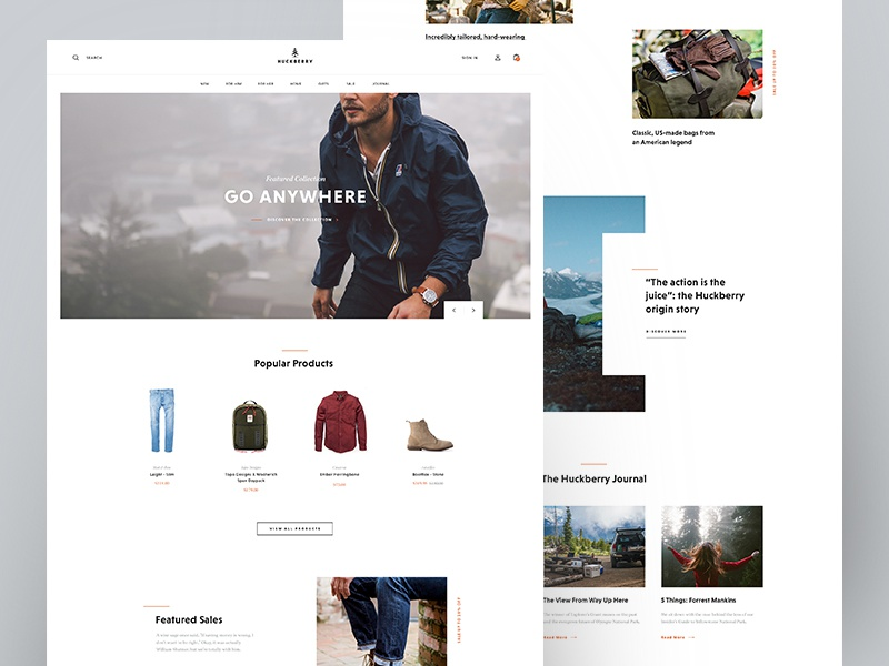 Huckberry concept homepage shot
