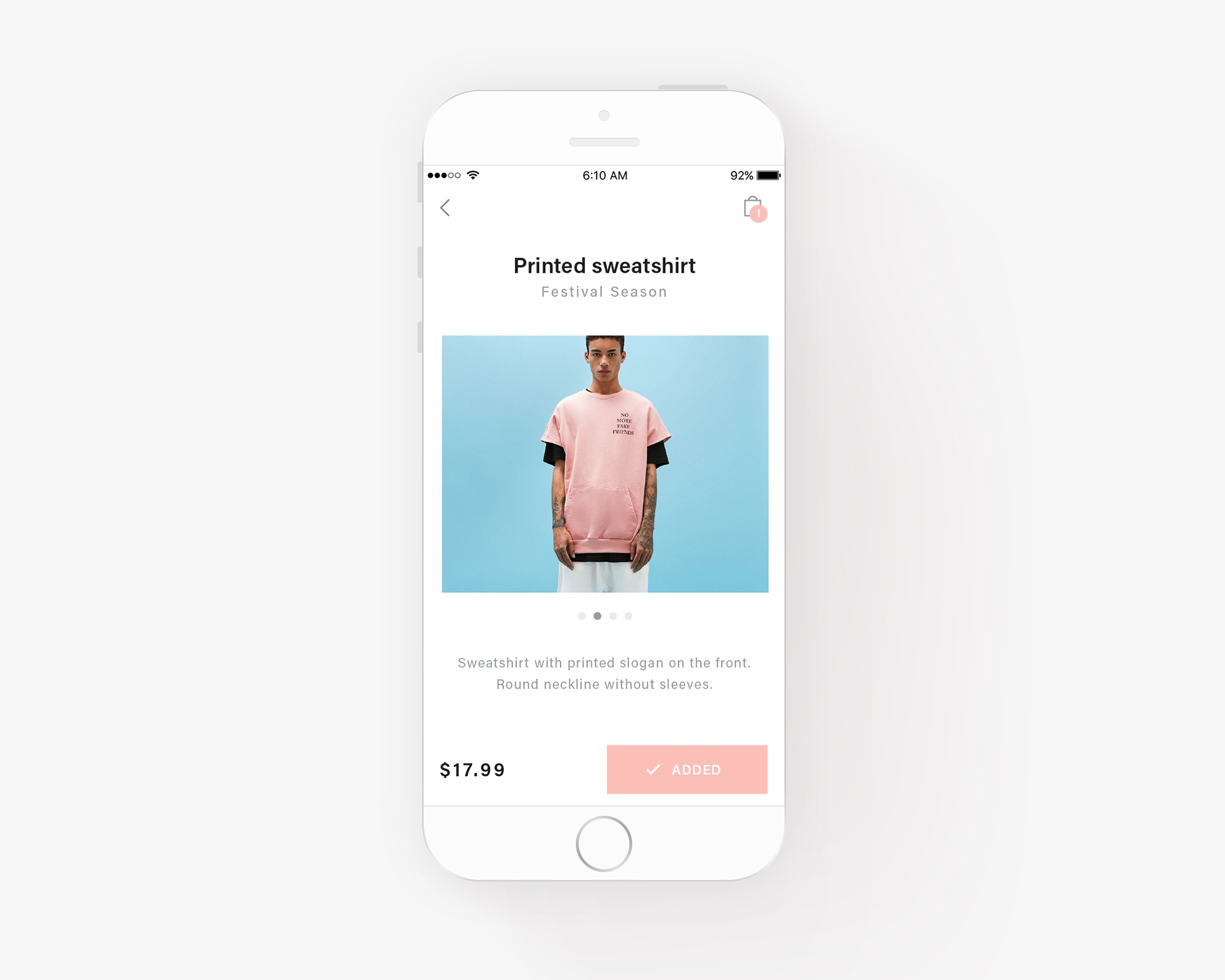 Fashion app exploration mockup 1
