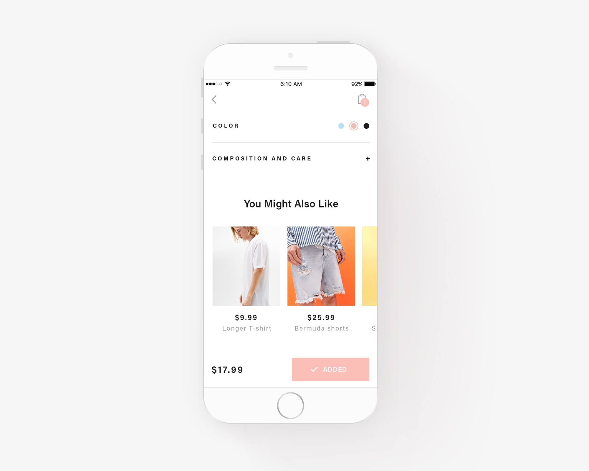 Fashion app exploration mockup 3