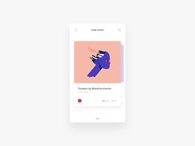 Muzli Interaction Exploration card minimal ios muzli interface clean app prototype interaction protopie