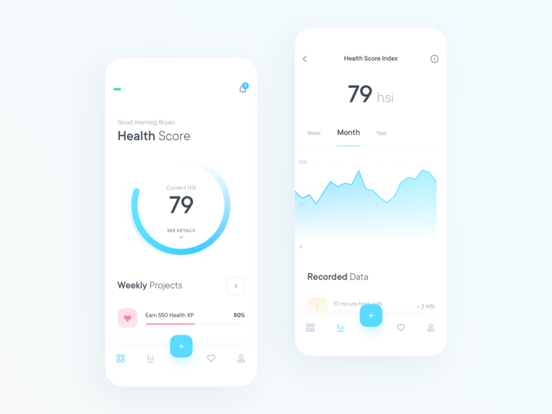Gamified Health App Concept minimal ui app ios clean health medical interface graph gamification
