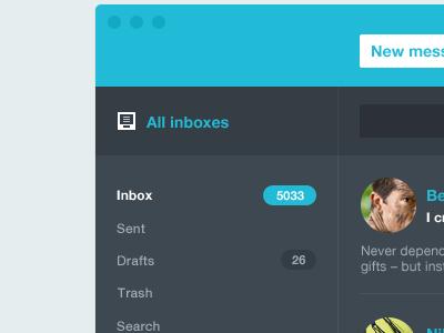 Flyaway v2 [wip] mail email app client mac message inbox apple flat blue cyan dark