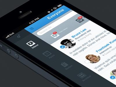 Menu app iphone intercom inbox menu apple mobile device side bar message select blue search