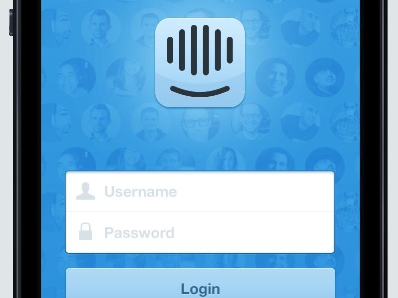 Simple login screen intercom app business web iphone mobile login button input blue icon logo