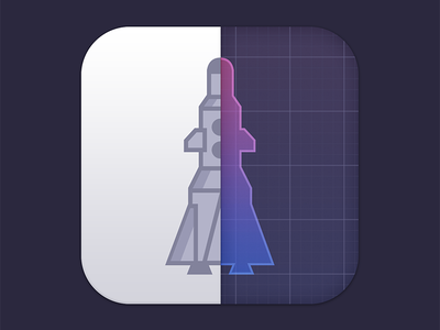 Super tiny project icon [WIP] icon ios iphone phone mobile app rocket blue print flat