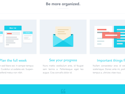 Be more organized  web website illustration icon flat feature ui ux interface time management blue mail calendar plan app week planner