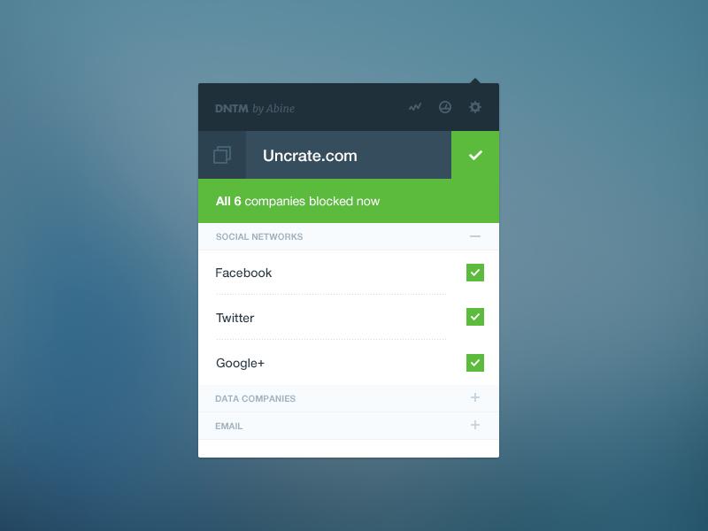 Do Not Track Me widget [wip] widget app browser tracking user web product website flat social ui interface