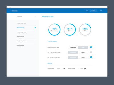 Simple dashboard [wip] dashboard app chart adwords clean flat minimal ui interface blue