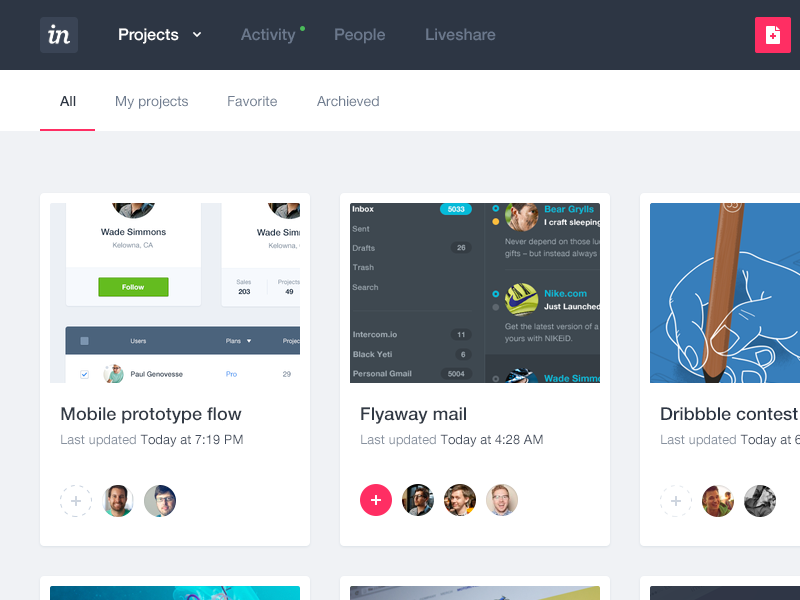 Invision app design evolution invision app management ui dashboard interface ux clean menu project