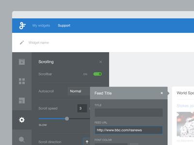 App settings page web website dashboard settings app widget side menu modal flat ui builder