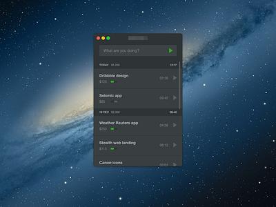 Tracking Widget [wip] widget app desktop tracking time interface ui apple mac simple toggl