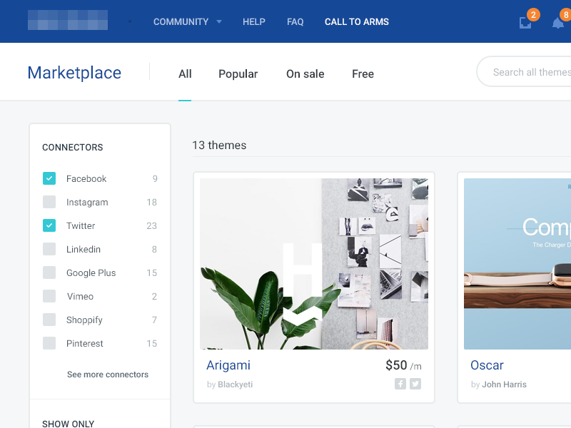 Marketplace [wip] marketplace goods social media ui interface web website app cards user flat