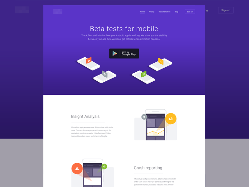 Landing page [wip] startup simple android google 3d isometric illustration test mobile landing website web