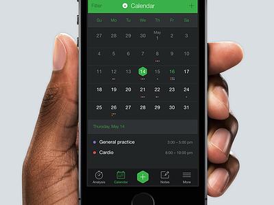 Calendar [wip] dark green apple ios calendar ux interface ui app iphone mobile