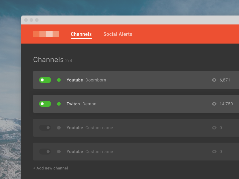 Channels dark record sketch game interface ux ui channel stream app web