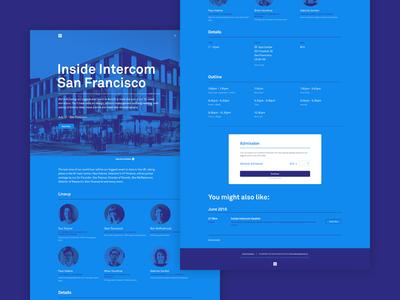 Inside Intercom San Francisco ux ticket blue purple brand marketing speaker landing event tour website web
