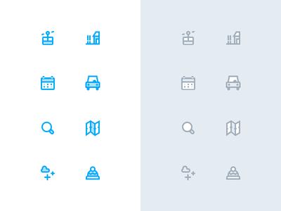 Resort icons web gondola map calendar car ski winter resort interface ui icon