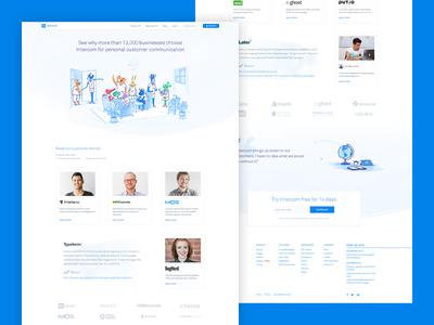 Intercom Customer Stories illustration landing marketing business customer story intercom website web
