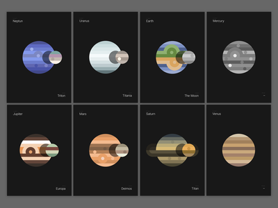 Planets / Moons poster series print poster moon illustration illustrator space solar planet