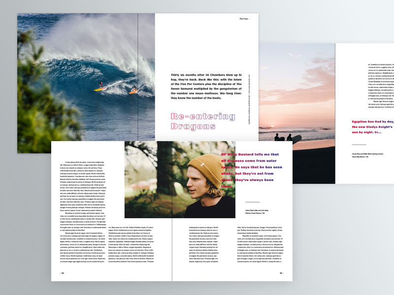 Layouts typography gradient editorial book surf photography grid layout print magazine