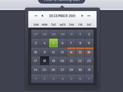 Calendar ui ux web website calendar date dates navigation color grey blue green orange hover state selected