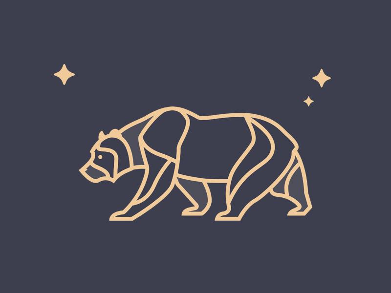 Bear flag star simple animal california ca bear illustration