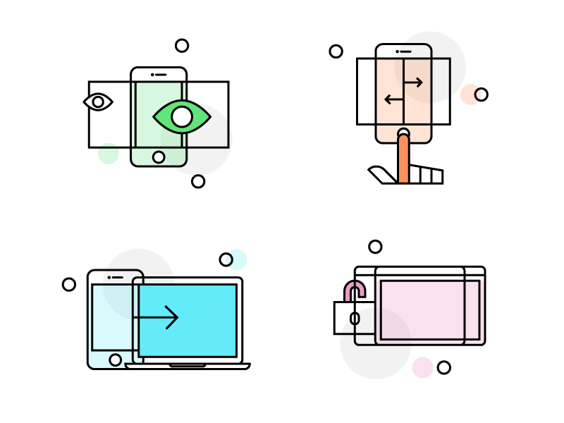 Icons startup mobile simple illustration web landing iconography icons