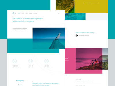 Kiwi.com startup ticket flight colorful clean typography brand marketing page landing website web